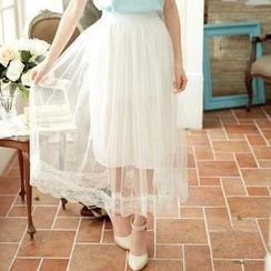 Tokyo Fashion - Mesh-Overlay Maxi Skirt