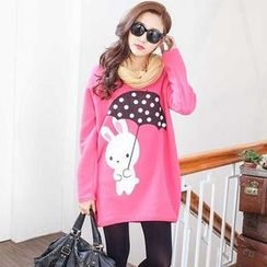YoungBaby - Rabbit-Print Loose-Fit Top