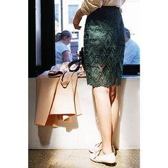 CHERRYKOKO - Lace Pencil Skirt