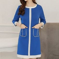 Q.C.T - 3/4-Sleeve Contrast Trim Dress
