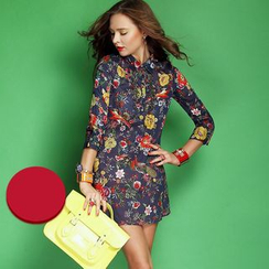 Ozipan - 3/4-Sleeve Beaded Printed Shirtdress