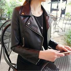 ERANZI - Diagonal-Zip Faux-Leather Jacket