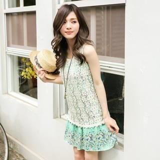 OrangeBear - Lace-Panel Floral Tank Dress