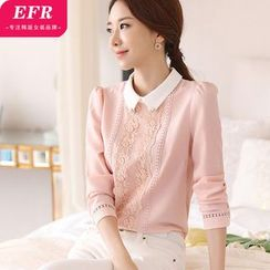Eferu - Lace Trim Embellished Chiffon Blouse