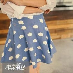 Tokyo Fashion - Cloud Print A-Line Skirt