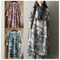 Rosadame - Print Long-Sleeve Dress