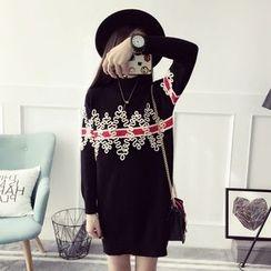 Qimi - 長袖圖案針織連衣裙