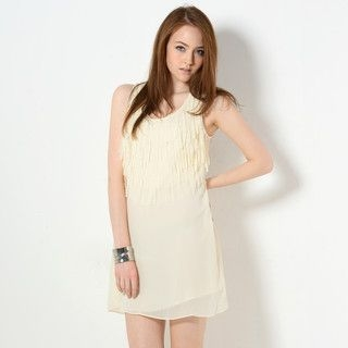 YesStyle Z - Sleeveless Fringed Chiffon Dress