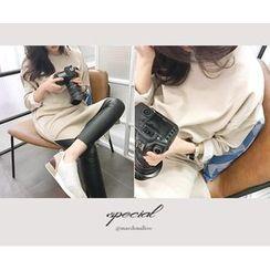MARSHMALLOW - Brushed-Fleece Lined Slit-Side Maxi Dress