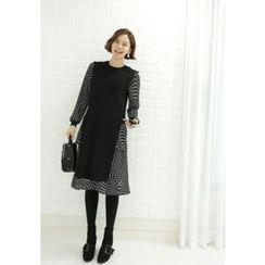 Lemite - Set: Sleeveless Long Knit Top + Print Dress