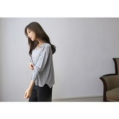 Hello sweety - V-Neck Dip-Back Knit Top