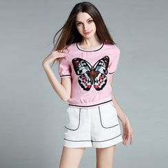 Cherry Dress - Set: Butterfly Short-Sleeve Top + Shorts
