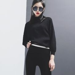 Sonne - Mock-Neck Dolman-Sleeved Knit Top
