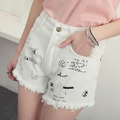 Honey House - Print Frayed Hem Denim Shorts