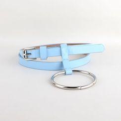 Goldenrod - Metal Ring Patent Skinny Belt