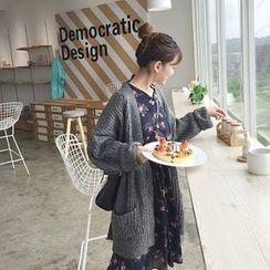 CosmoCorner - 純色寬鬆中長款針織外套