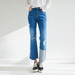Seoul Fashion - Fray-Hem Boot-Cut Distressed Jeans