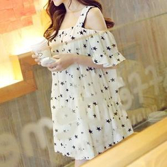 QZ Lady - Off-Shoulder Star Ruffled Dress