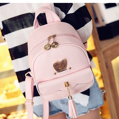 Merlain - Faux Leather Tasseled Backpack