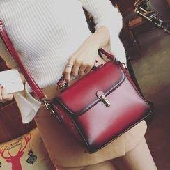 LINGLAN - Faux Leather Flap Shoulder Bag