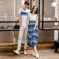 We Belong - Couple Matching Patterned Short Sleeve T-Shirt / Sleeveless Dress