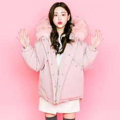 chuu - Faux-Fur Trim Hooded Puffer Jacket