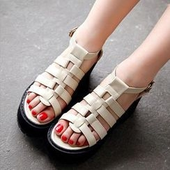 Mancienne - Faux-Leather Strappy Platform Sandals