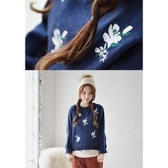 GOROKE - Crew-Neck Flower-Embroidered Knit Top
