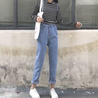MePanda - Washed Suspender Jeans