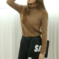 Dodostyle - Turtle-Neck Ribbed-Knit Top