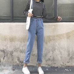 MePanda - Washed Suspender Jeans