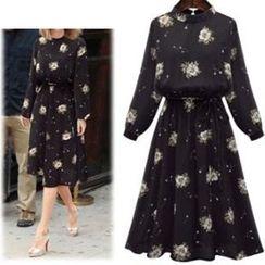 AGA - Floral Print Midi Chiffon Dress