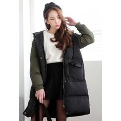 Dalkong - Hood Color-Block Thick Padded Coat