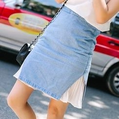 微米家 - 饰褶拼接牛仔短裙