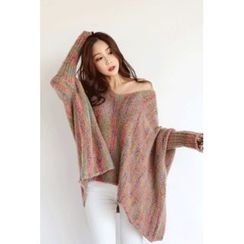 migunstyle - V-Neck Pattern Loose-fit Knit Top
