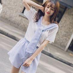 Wimi girls - Set: Short-Sleeve Tie Neck T-Shirt + Shorts