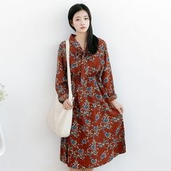 Forest Girl - Floral Print Long Sleeve Dress