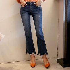 DABAGIRL - Cutout-Hem Washed Boot-Cut Jeans