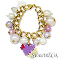 Sweet & Co. - Mini Gold-Purple Cupcake Swarovski Crystal Charm Bracelet