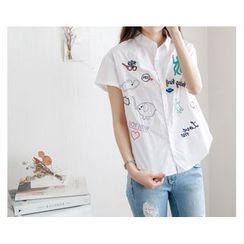 demavie - Short-Sleeve Embroidered Blouse