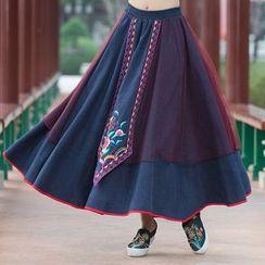 Ebbie - Flower Embroidered Maxi A-Line Dress