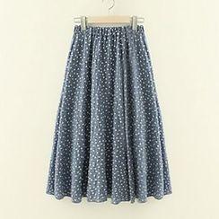 Meimei - Floral Print A-Line Midi Skirt