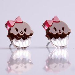 Sweet & Co. - Miss Cupcake Chocolate Stud Silver Earrings