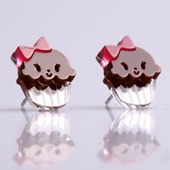 Sweet & Co. - Miss Cupcake Chocolate Stud Silver Earrings