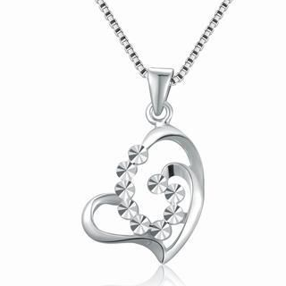 MaBelle - 14K White Gold Openwork Diamond-Cut Heart Necklace (16'), Women Jewelry in Gift Box
