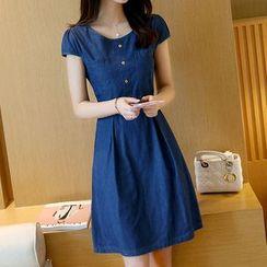 MyShow - Denim Short-Sleeve Dress