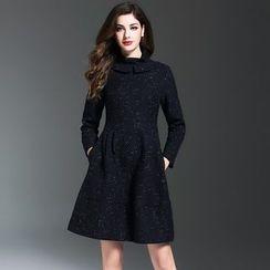 Elabo - Funnel Neck Long-Sleeve A-Line Dress