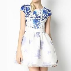 O.SA - Cap-Sleeve Mesh-Panel Floral Dress