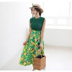 Miamasvin - Tie-Waist Ruffle-Hem Pattern Long Skirt