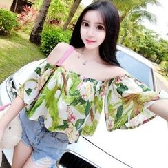 Queen Bee - Floral Print Elbow Sleeve Chiffon Top